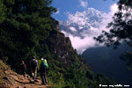 Trekking trail and Mount Thamserku (6608m)